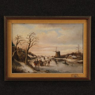 19th Century Flemish Winter Landscape Painting