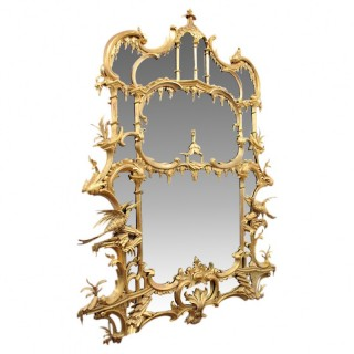 Victorian Chippendale Style Gilt Overmantel Mirror