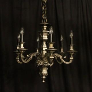 French Silver Bronze 6 Light Antique Chandelier