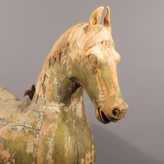 A Late 19th Century Indian Carved and Painted Horse (Half Sized)