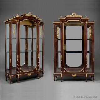 Pair of Louis XVI Style Mahogany Vitrines