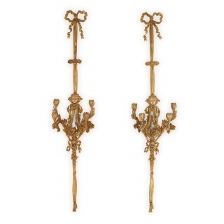 Large pair of Louis XVI style ormolu wall lights