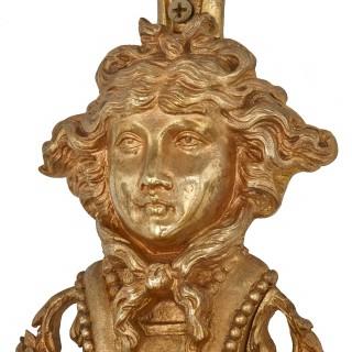 Large pair of Louis XVI style ormolu wall lights