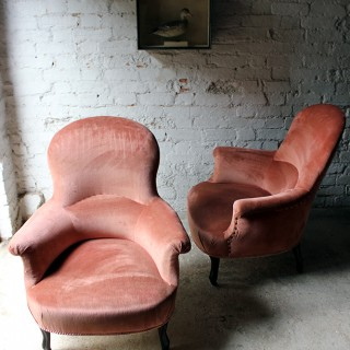 A Pretty Pair of French Rosewood & Pink Velvet Upholstered Tub Armchairs c.1890-1900