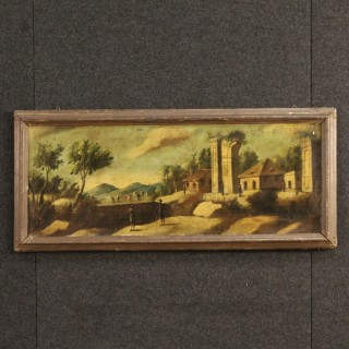 19th Century French Painting Landscape With Ruins