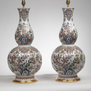 Pair of Late 19th Century Delft Double Gourd Vases