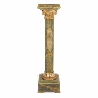 Ormolu mounted green onyx antique French pedestal