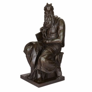 Large patinated bronze figure of Moses by Barbedienne