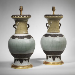 Pair of Late 19th Century Chinese Celadon Vases