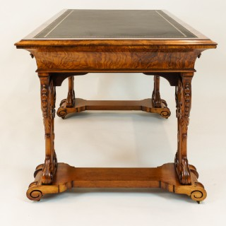Antique Irish Figured Walnut Library Table or Desk by W F Fry and Son