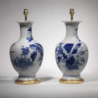 Pair of Chinese Porcelain Blue and White Vases of Baluster Form