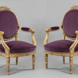 Pair of French Armchairs in the Louis XVI Manner