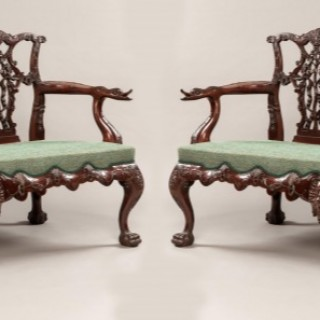 Pair of Triple Back Settees in the Chippendale Manner