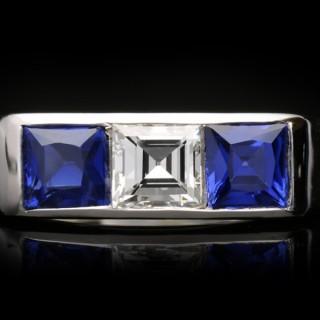 Cartier diamond and sapphire three stone ring, French, circa 1950.