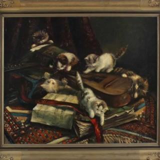 Jan van Hoverer.  Mischievous kittens.