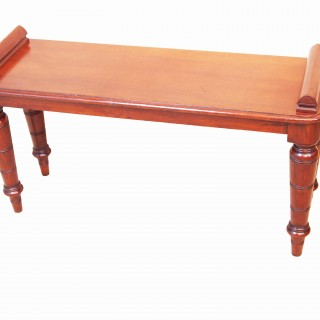 Antique Late 19th Century Mahogany Hall Bench