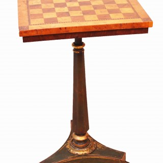 Antique Regency Birds Eye Maple, Painted & Parcel Gilded Chess Table