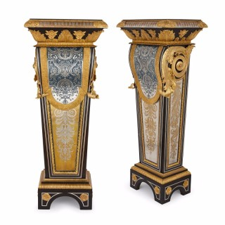 Pair of Louis XIV style ormolu mounted Boulle work pedestals
