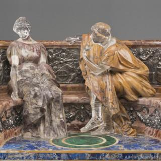 'A Declaration' - An Unusual Specimen Marble Figural Group
