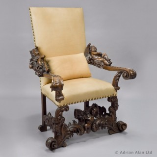 Venetian Baroque Style Figural Walnut Throne Chair