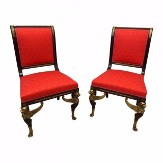 Late 19th Century Pair of Empire Revival Side Chairs