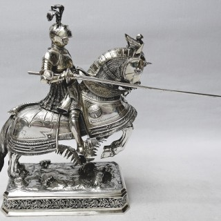 Antique Silver Knights on Horse Back