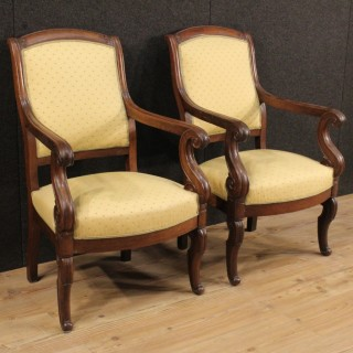 19th Century Pair Of French Armchairs In Empire Style