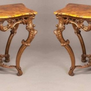 Pair of Italian Giltwood  Console Tables