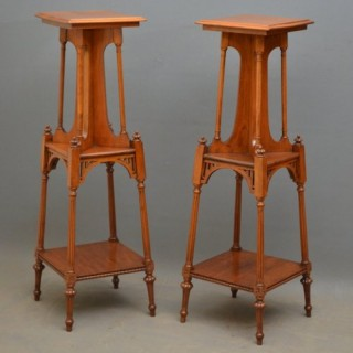 Stylish Pair of Victorian Walnut Plant Stands