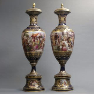 Matched Pair of Vienna Vases