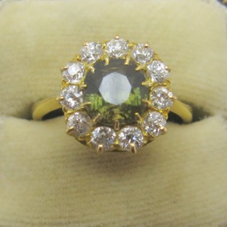 Green Garnet and Diamond Cluster Ring