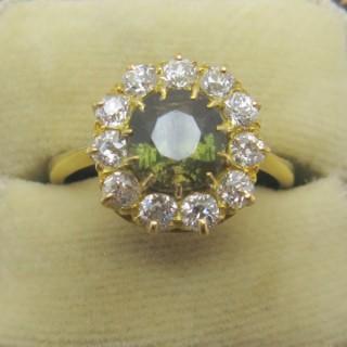 Green Garnet and Diamond Cluster Ring