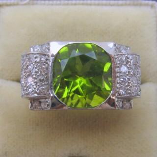 Vintage 1940 Peridot and Diamond Ring.