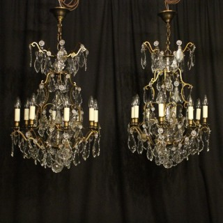 French Pair Of 8 Light Antique Chandeliers