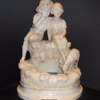 An Italian carved alabaster lamp by Umberto Stiaccini