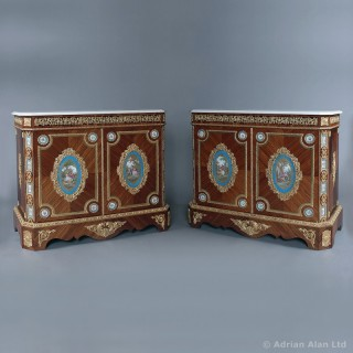 Pair of Gilt-Bronze Mounted Side Cabinets