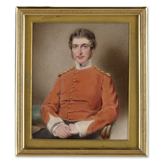 Portrait miniature of a Gentleman, traditionally called D. L. Cockburn, possibly an officer of the 43rd Oxfordshire Regiment of Light Infantry, wearing scarlet shell-jacket with white facings, c.1850