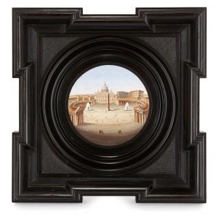 Pair of circular Italian micromosaic plaques in wooden frames