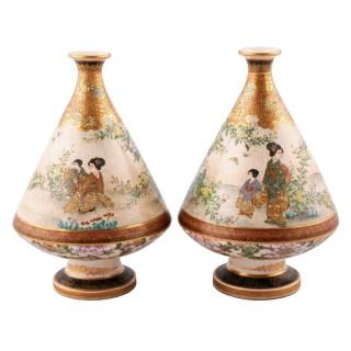 Fine Pair of Japanese Satsuma Vases