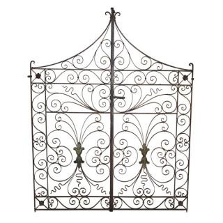 A pair of decorative wrought iron garden gates