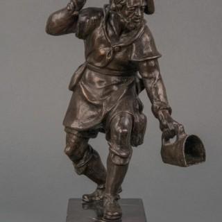 A 17th century German lost wax bronze of 'The Birdcatcher'