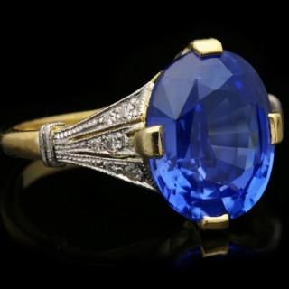 Antique Ceylon sapphire and diamond ring, English, circa 1910.