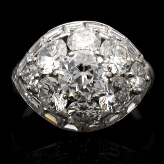 Van Cleef & Arpels vintage diamond bombé ring, circa 1963.