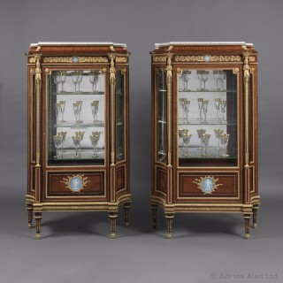 Pair of Louis XVI Style Vitrines with Wedgwood Jasperware Plaques