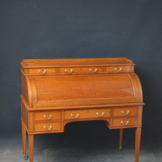 Exhibition Quality Satinwood Cylinder Desk, Bureau byMaples & Co
