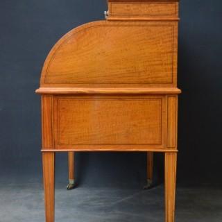 Exhibition Quality Satinwood Cylinder Desk, Bureau byMaples & Co