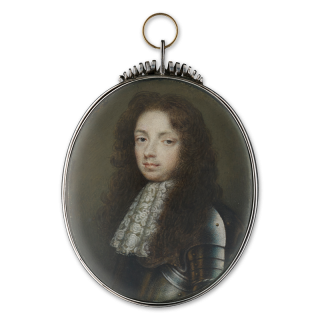 Portrait miniature of a Gentleman, traditionally identified as Sir John Germain (1650-1718), wearing brass studded armour and white lace jabot, his hair curled and worn long