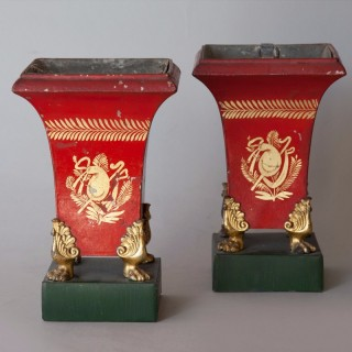 PAIR OF SMALL EARLY 19TH CENTURY TOLE ORNAMENTAL JARDINIÈRE