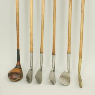 Set of Six Matched Playable Hickory Golf Clubs.