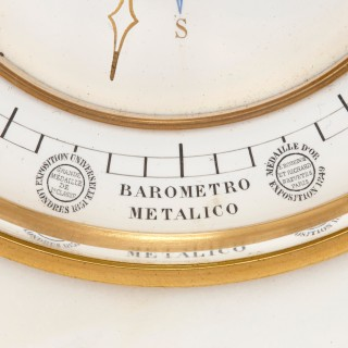 Marble mantel clock, barometer, thermometer and lunar scale